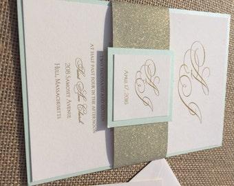 100 Mint Wedding Invitations, Mint U0026 Gold Invitations, Wedding Invitation, Wedding  Invitations With