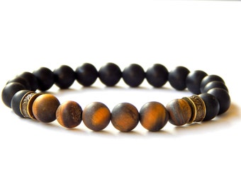 Bracelet fine natural tiger eye beads and frosted matte black agate ethnic style