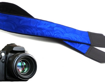 Blue camera strap. Padded camera strap DSLR and SLR. Men accessories by InTePro.