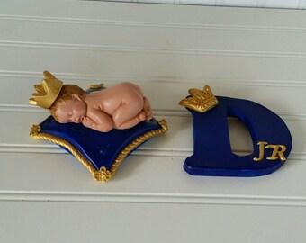 Fondant Baby Prince cake topper set