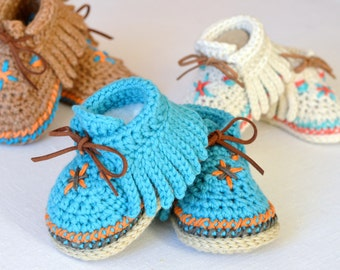 Baby Shoes CROCHET PATTERN Native American Style Baby Moccasins 3 Sizes Photo Tutorial Digital File Instant Download