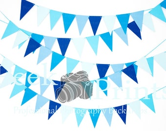 6ft.x4ft. Birthday Blue Banners #2 - Image 1:27 Photography - Photography Backdrop