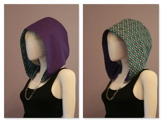 Crystal Hoods / festival hood / reversible / colorful / geometric / teal / purple /