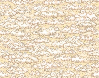 Celestial sol Cream Clouds cotton fabric by Quilting Treasures