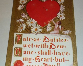on sale Heart With Daisies, Cupid and Love Poem Antique Valentine Postcard