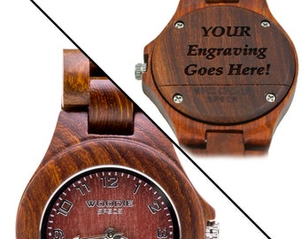 Handcrafted women's wood match made from 100% natural red sandalwood. FREE custom engraving!