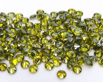 500pcs.Wholesale Olive Cubic zirconia CZ Round cut 1.70mm. loose gemstones.
