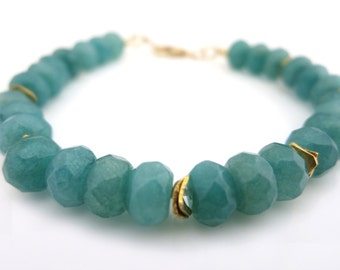 Amazonite Bracelet, Green Amazonite Bracelet, Amazonite and Gold Bracelet, Amazonite Stone Bracelet, Amazonite Gemstone Jewellery, For Her