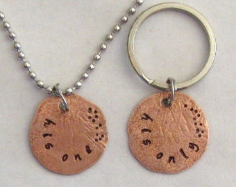 LGBT couples gift set, key chain necklace, hand stamped, smashed penny charms, his one his only, gay couples keepsake, made in USA