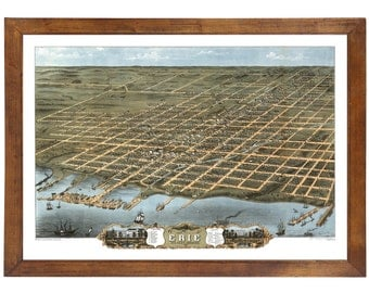 Erie, PA 1870 Bird's Eye View; 24x36 Print from a Vintage Lithograph