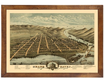 Grand Haven, MI 1874 Bird's Eye View; 24x36 Print from a Vintage Lithograph