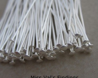 200 silver plated headpins 2 inch 21 gauge