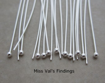 20 sterling silver headpins 2 inch 24 gauge 1.7mm ball