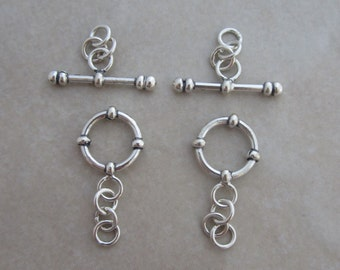 2 sterling silver toggle clasps from Bali with accents 12mm