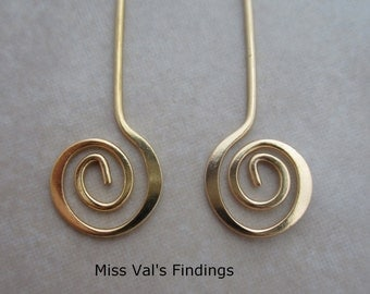 24 gold plated headpins with swirl