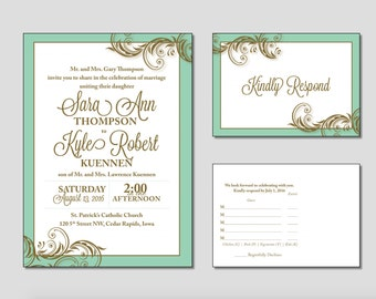 Mint And Gold Wedding Invitation, Gold Wedding Invitation, Mint Gold Invites,  Elegant Traditional