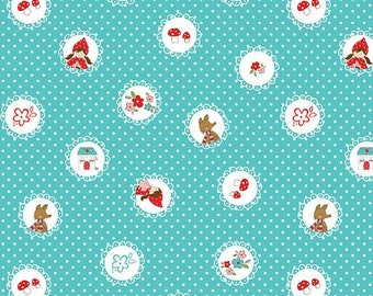 FQ Little Red Riding Hood Scallops in Aqua by Tasha Noel OOP HTF Fat Quarter