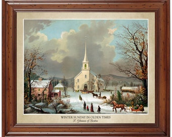 Winter Sunday in Olden Times - Color lithograph by F. Gleason of Boston; 16x20 print