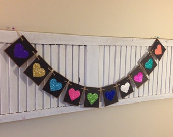 Blinged Out Glitter Heart Banner Love Colorful Bunting Garland Choose Colors Wedding Bridal Baby Shower
