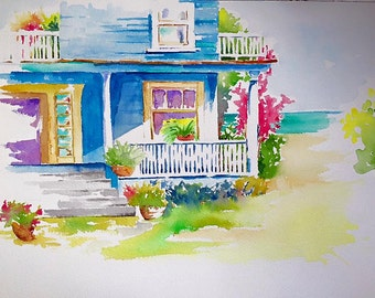 Summer Cottage - On Canvas
