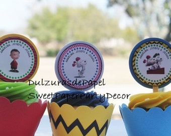 Snoopy/ Peanuts/Charlie Brown Cupcake Toppers, Peanuts Cupcake topper, Snoopy cupcake topper, Charlie Brown cupcake topper