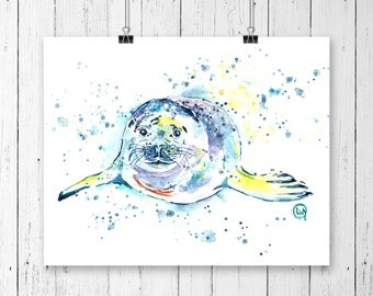 SEAL PRINT, Harbour Seal, Ocean Art, Canadian Wildlife, Ocean theme, sea life, Seal art, Ocean decor, marine life, seal watercolour