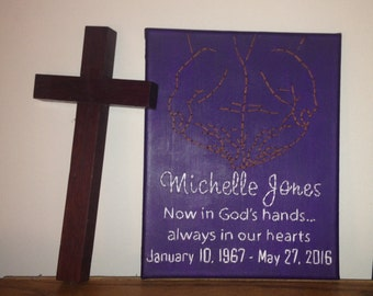 Memorial Wall Art: Now in God's hands... Name & Dates, Hand Stitched Wall Art