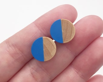 Customizable Handmade SOLID COLOR Painted Wood Stud Post Earrings, Birch Wood and Stainless Surgical Steel Posts
