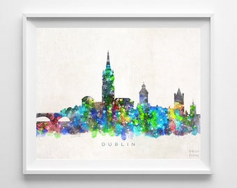 Dublin Skyline Print, Ireland Poster, Watercolor Painting, Giclee Art, Cityscape, City Painting, Wall Art, Home Decor, Back To School