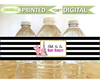 Paris Poodle Water Bottle Labels, Paris Water Bottle Labels, Paris Party Decoration, Paris Baby shower, Paris Bridal Shower, LemonBells WP07