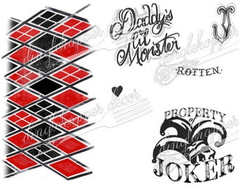 HARLEY QUINN Suicide Squad Temporary Tattoos - Club Harley Set