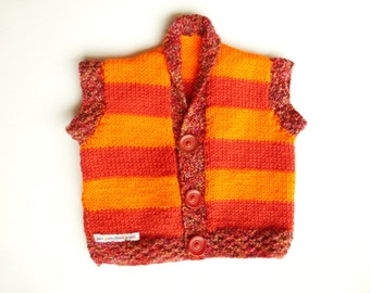 baby vest, orange stripy baby waistcoat, 6-18 months, baby clothes, baby sweater, baby present, warm baby vest, buttonup waistcoat