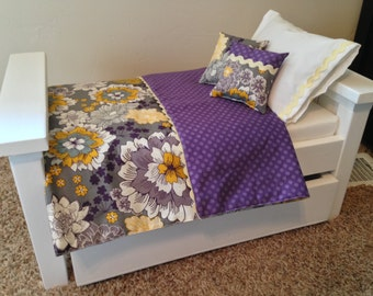 American Girl Doll Bedding, Purple flowers with polka dots. Reversible 5 pc set