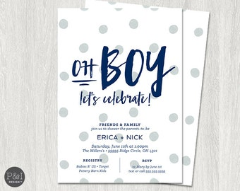 Oh Boy Baby Shower Invitation | Couples Shower | Co-ed Shower | DIY | Customized Printable