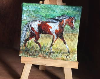 Mini Chincoteague Pony Painting with Easel