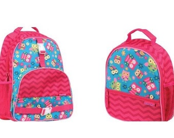 Stephen Joseph owl backpack, monogrammed backpack, personalized backpack, matching lunchbox