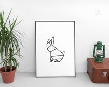 Rabbit Print Art, Instant Download Printable, modern art, digital art, Print,Black and White, Rabbit art, Rabbit print