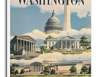 Washington DC Travel Poster Art American Canvas Print Wall Decor xr668