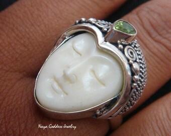 Carved Bone and Peridot Goddess Ring NG-224