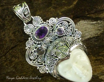 Sterling Silver Bone and Amethyst Goddess Pendant NG-1238