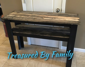 Black with barnwood effect tops TV stand/hallway table