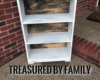 Barnwood With Distressed white office bookshelf primtive rustic