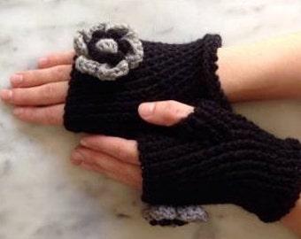 Black Fingerless with flower, woll, handmade,