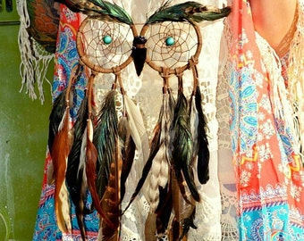 Bright Eyed Owl // Leather, Coque Tail Feathers, Obsidian Arrowhead // MADE TO ORDER