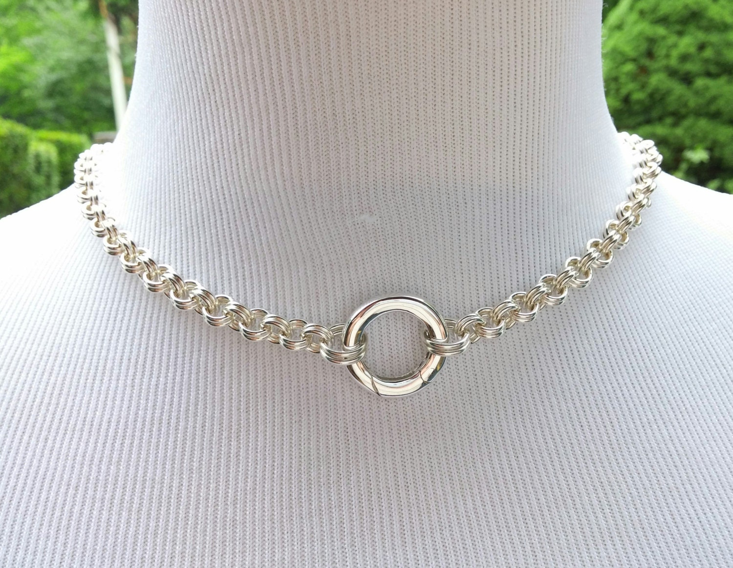 925 Sterling Silver Discreet Bdsm Slave Collar Chainmaille