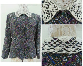 Print Shirt Blouse  Button Down Top Size will fit Medium