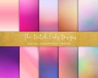 Digital Scrapbook Paper - Gradient Colors - 10 papers in .JPEG Files - INSTANT DOWNLOAD