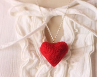 Red Heart Necklace  Needle felted  Gifts ideas for Valentine's Day