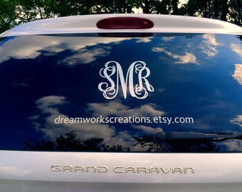 Monogram Car Decal Etsy - Monogram car decal sticker
