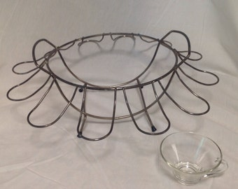MidCentury punch bowl set with metal rack, punch bowl and cups, punch serving bowl with stand, beverage serving bowl and 12 cups